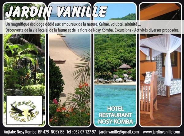 Jardin vanille. Lodge charme  Nosy Komba
